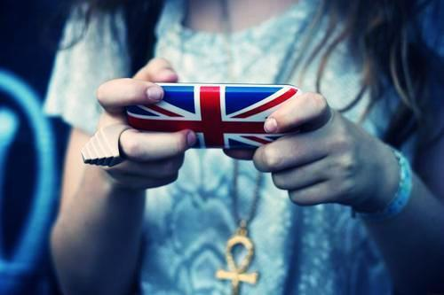 blue, british, cell phone, feel british, flag, girl, mobile, red, stylish, white