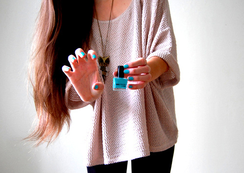 blue, brunette, fashion, girl, hair, nailpolish, nails