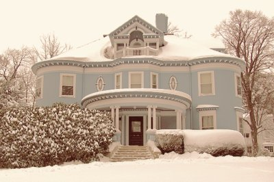 blue, cold, cool, house, snow, trees