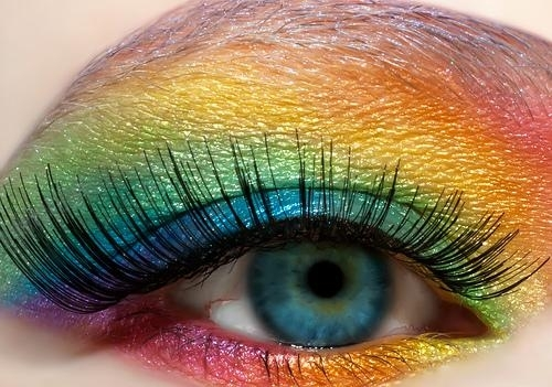 blue, colorful, eye, eyelashes, eyeshadow, fake eyelashes, makeup, pretty, rainbow