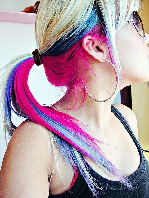 blue, colorful, girl, hair