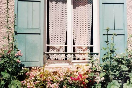 blue, cottage, curtain, cute, flowers, garden, house, photography, summer, sun, vintage, window