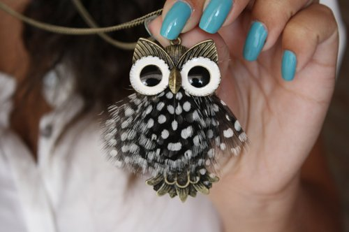 blue, girl, nail polish, nail varnish, nails, necklace, owl, xjolien