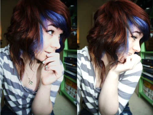 blue hair, brown hair, cute, portrait