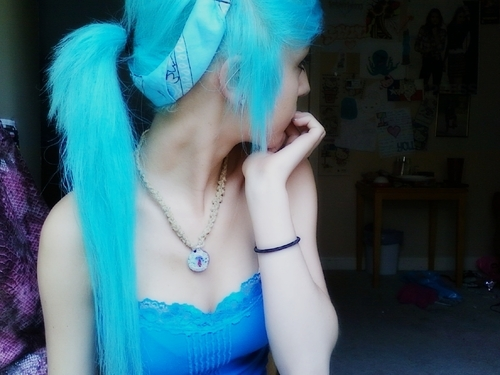 blue hair, girl, hair, scene