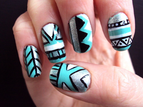 blue, nail art, pretty, want