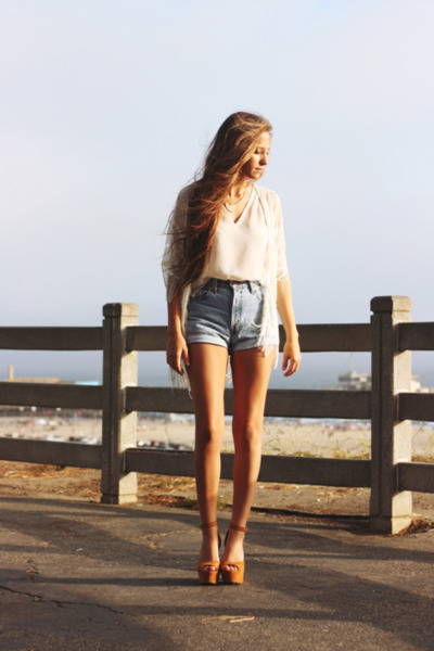 boho, denim, girl, heels, longhair, outfit, shorts, style, summer, wind