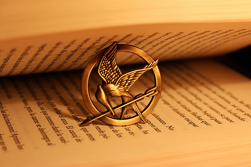 book, jogos vorazes, katniss everdeen, love, mockingjay, mockingjay pin, music, peeta mellark, text, the hunger games