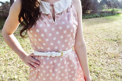 bow, dress, girl, polka dot