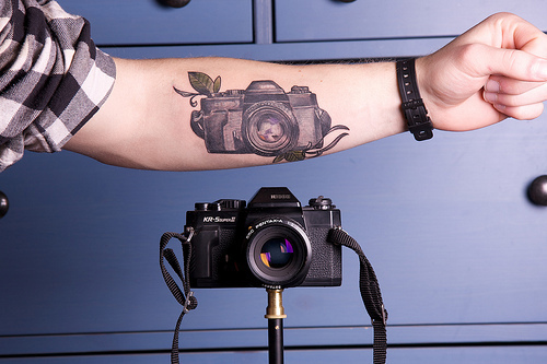 boy, camera, photography, tattoo