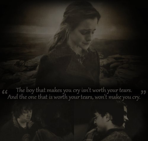 boy, cry, harry potter, hermione, hurt, quotes, roy