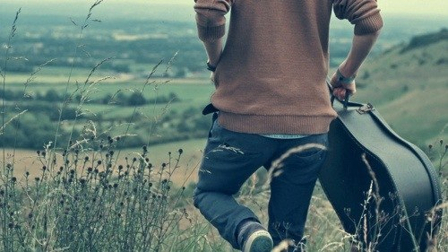 boy, guitar, nature, pants