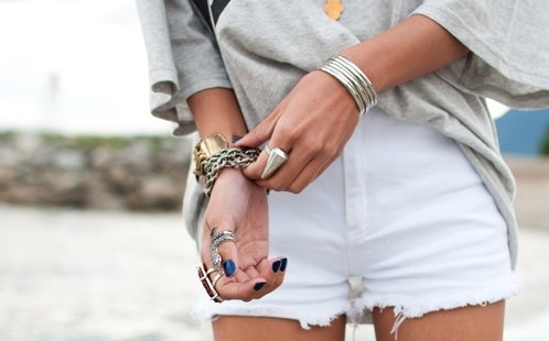 bracelets, fashion, girl, nails, rings, short, white, xjolien