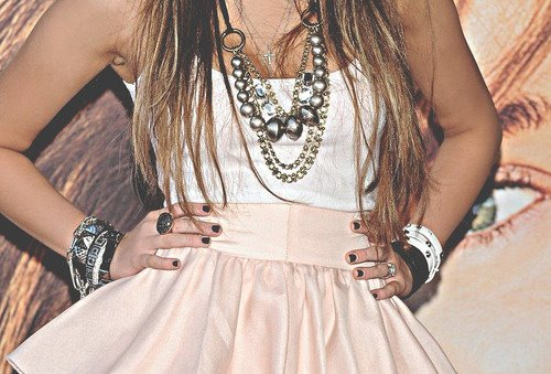 bracelts, cute, dress, girl, madrid, miley cyrus, nails, outfit, rings