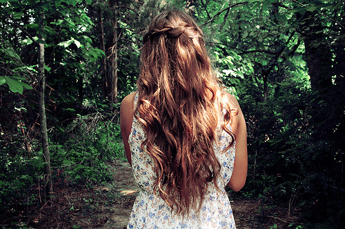 braid, brunette, girl, girl forest