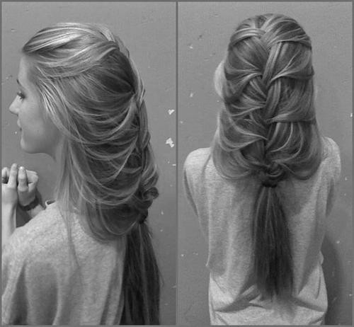 braid, cute, girl, girly, hair, hairstyle, lovely, ponytail