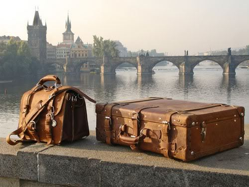 bridge, castle, landscape, river, suitcase, travelling, trip