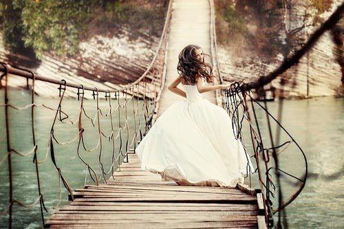bridge, girl, lake, ocean