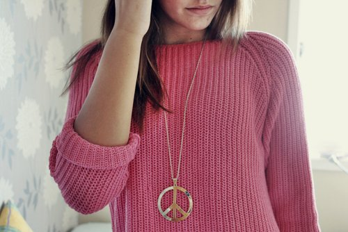 brown hair, brunette, fashion, girl, hair, peach, pink, sweater