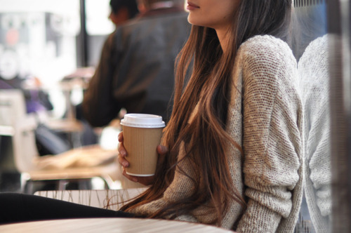 brunette, cafe, coffee, garota