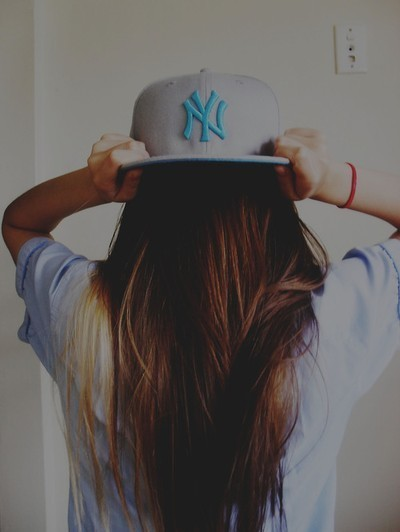 brunette, cap, fashion, girl, hair, long hair, new york, ny, style, xjolien