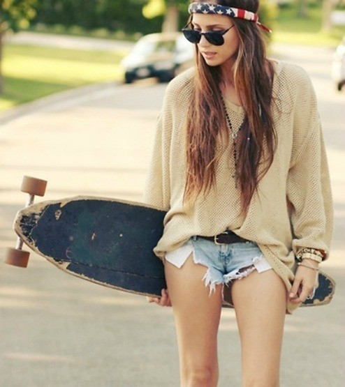 brunette, cute, fashion, girl, model, skateboard, summer