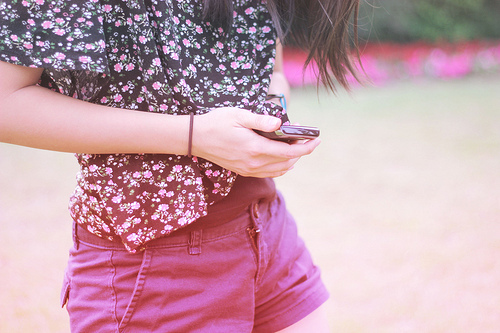 brunette, fashion, flowers, girl, hair, phone, pink, purple, short, xjolien