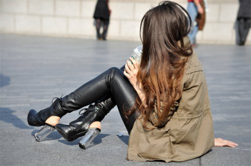 brunette, fashion, hair, heels, leather, shoes, skinny, summer, vintage