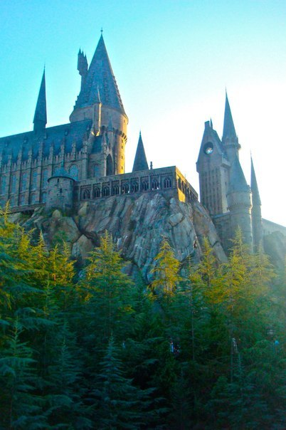 beautiful, bulding, castle, fairytale, harry potter, hogwarts, light, nature, sky, skyview, trees, view