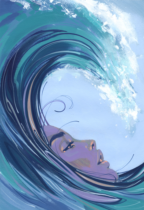 calypso, girl, goddess, gorgeous, illustration, love, ocean, regina spektor, song, wave