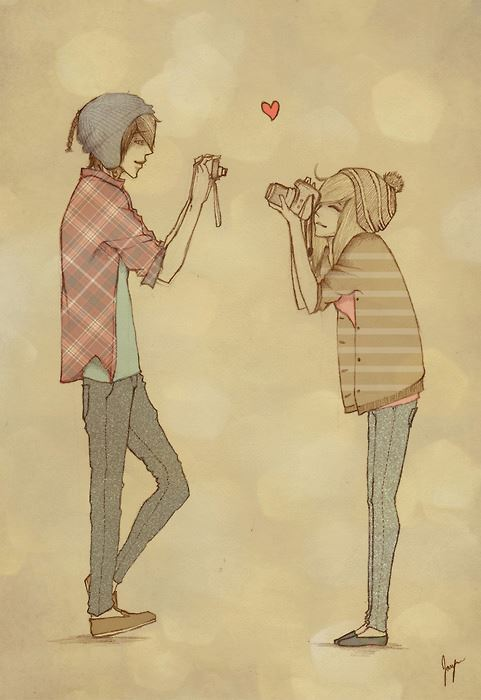 camera, couple, cute, drawing, hats, heart, hipsters, jeans, love, manga, photo, picture