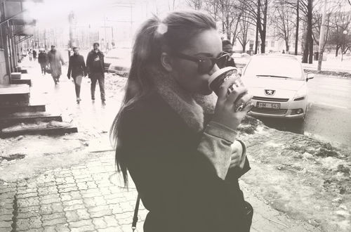 car, coffe, coffee, fashion, girl, glasses, hair, photografy, snow, street