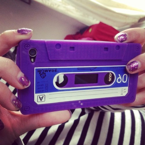 case, cassette, cassette tape, glitter, glitter nail, iphone 4, iphone case, purple, tape