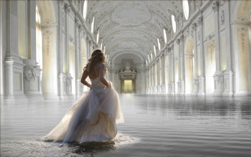 castle, girl, water