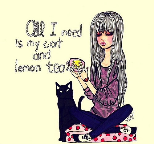 cat, color, drawing, fashion, fashion illustration, girl, girl cat drawing, ilustracao, kir, lemon, my cat, tea, valfre, valfre wow cool