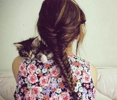 cat, fashion, floral, girl