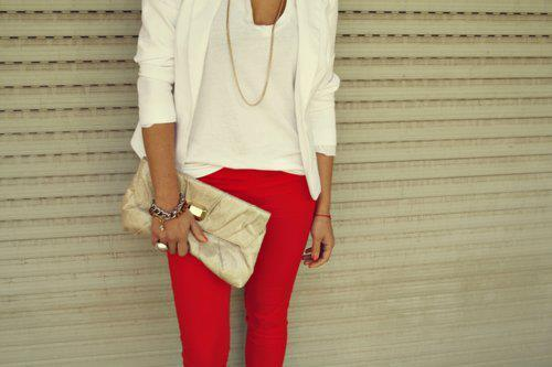chain, clutch, cute, fashion, necklace, red skinnies, skinnies, v neck, white, white blazer, white clothing, white fashion, white t, white v neck