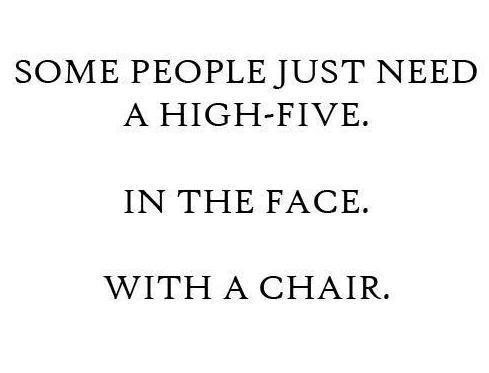 chair, face, funny, high five