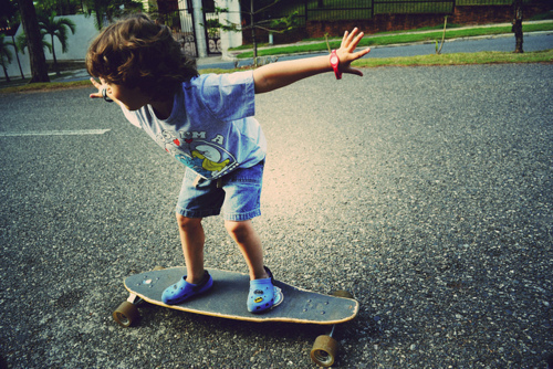 children, cute, kid, longboard