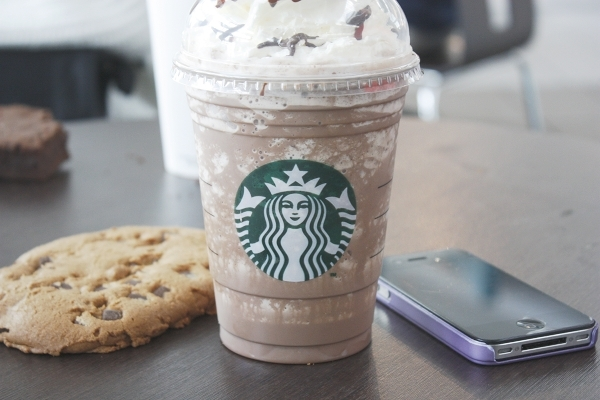 chocolate cookie, food, frappino, iphone