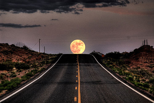 city, moon, photography, road