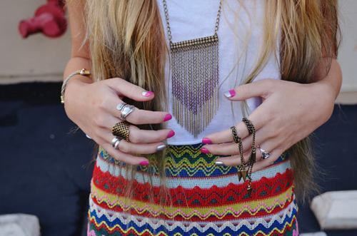 clothes, fashion, hair, nails, rings, skirt, tribal