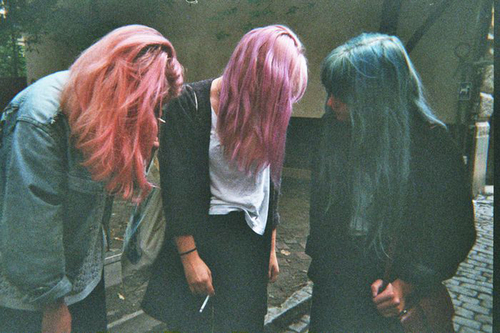 color hair, friends, indie