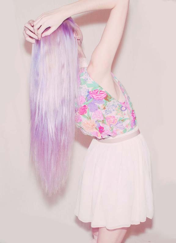 colored, cute, fashion, feminine, floral, girly, hair, lavender, opium poppies, pastel, pastels, pink, rose, spring, style, stylish, vintage