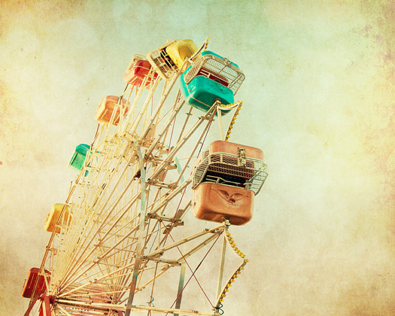 colorful, ferris wheel, sky, vintage