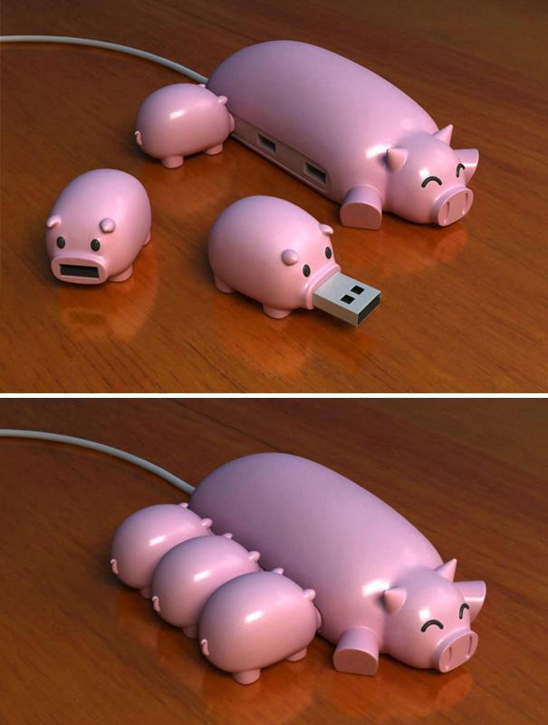 computer, cute, funny, pendrive, piglet, pigs, usb, xd