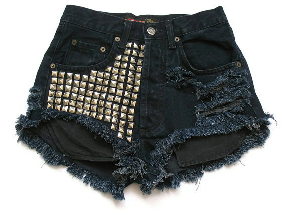cool, cut off shorts, cut offs, denim shorts, destroyed shorts, fashion, high waist, high waist shorts, high waisted, high waisted shorts, jean shorts, party, pretty, shorts, shredded shorts, studded, studded shorts, studding, studs, style, summer