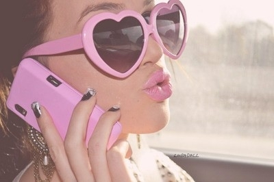 cool, cute, girl, girls, glasses, heart, lips, love, nails, phone, pink