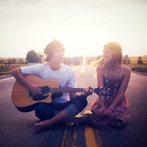 couple, guitar, love