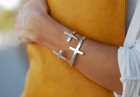 cross bangle bracelet, fashion, girl, love